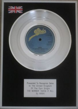 ABBA -  7 inch Platinum Disc - THE WINNER TAKES IT ALL